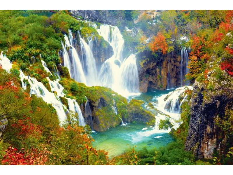 Fototapet vattenfallet i Plitvice nationalpark i Kroatien