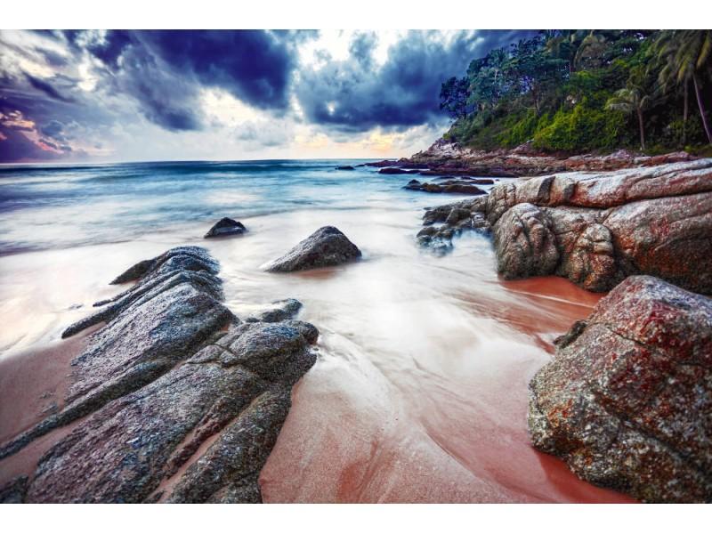Fototapet tropisk strand vid härlig solnedgång (15057764)