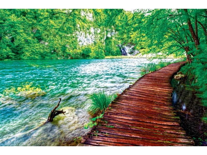 Fototapet trä bana i nationalparken i Plitvice