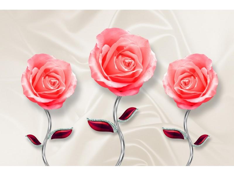 Fototapet 3d väggmålning tapet med rosblomma på sidenvägg bakgrund (154551002)