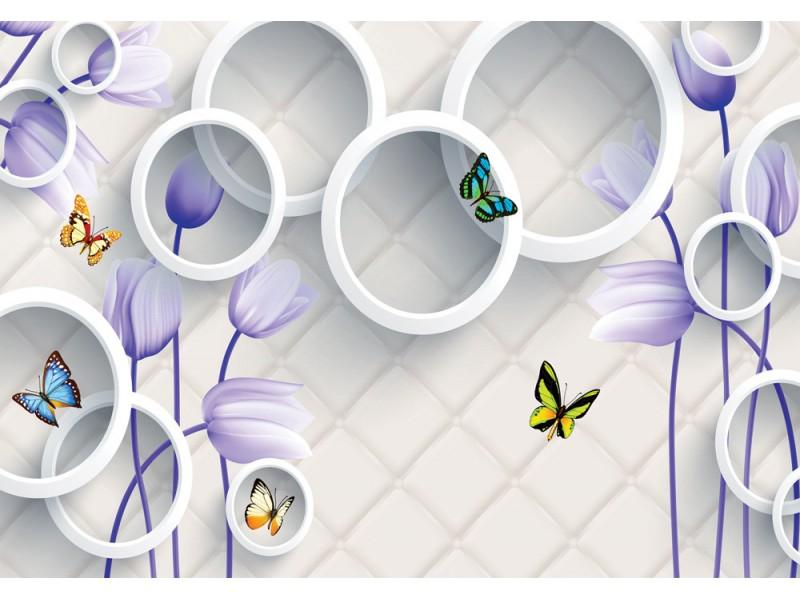Fototapet 3d väggmålning med lila blommor, fjärilar och vita cyklar på stenmurbakgrund (148088471)