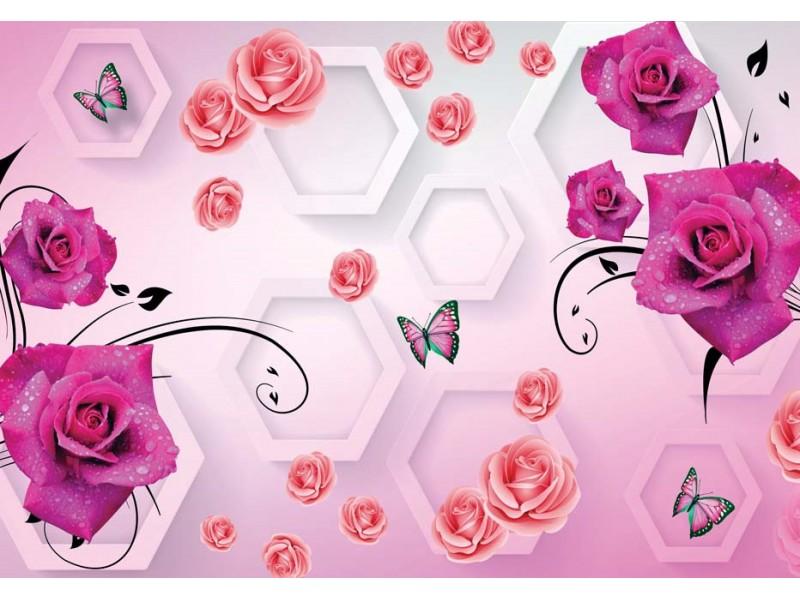 Fototapet 3d Fototapet med vackra dekorativa blommor och fjärilar på den konstnärliga väggbakgrunden (148272629)