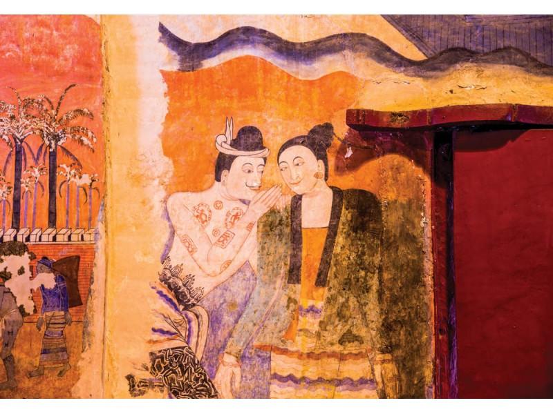 Fototapet av forntida väggmålning på Wat Phumin, Thailand. (81282367)