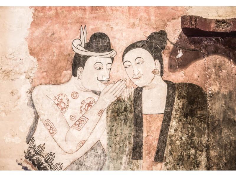 Fototapet forntida väggmålning på Wat Phumin (84975637)