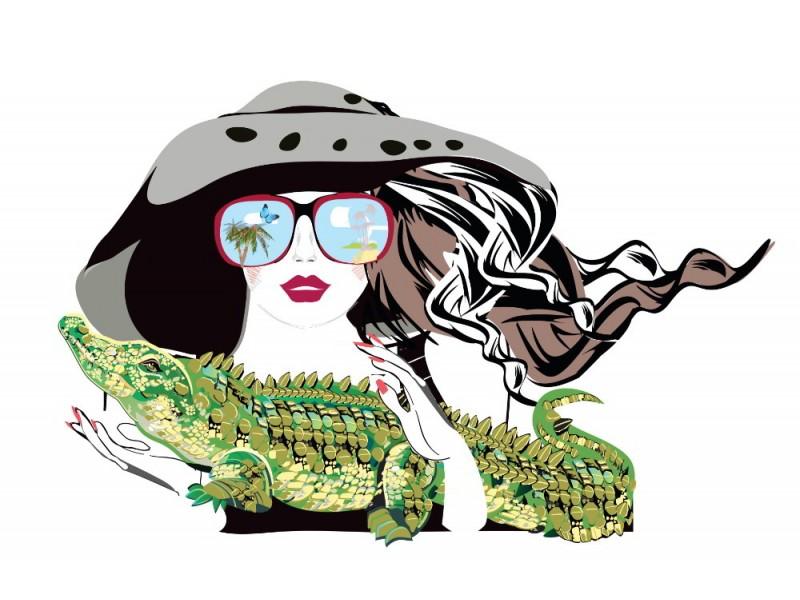 Fototapet vacker modeflicka med ett krokodilhusdjur (126056353)