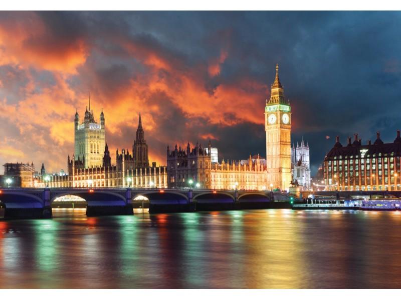 Fototapet Big Ben och parlamentets hus på kvällen (31592897)