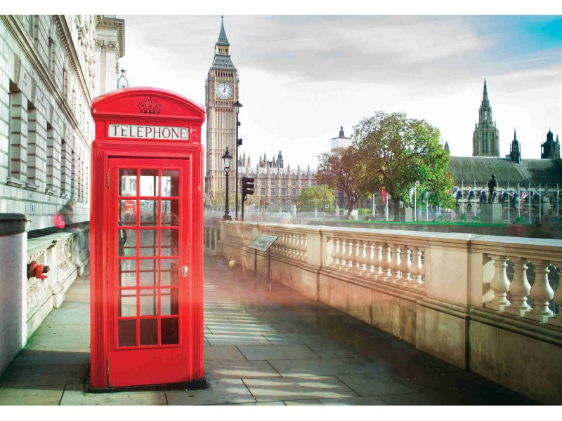 Fototapet Big Ben och röd telefonkiosk i London (24290754)