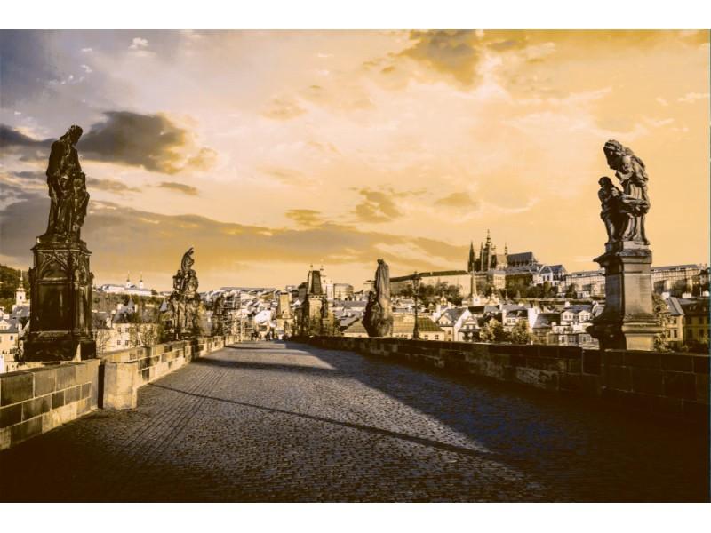Fototapet karlsbron och slottet i Prag vid soluppgången (38690737)
