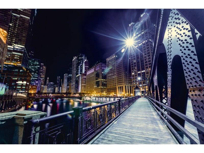 Fototapet Chicago centrum på natten (96711177)