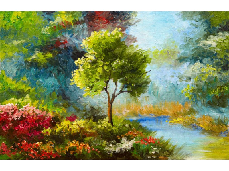 Fototapet Flowers And Trees By River