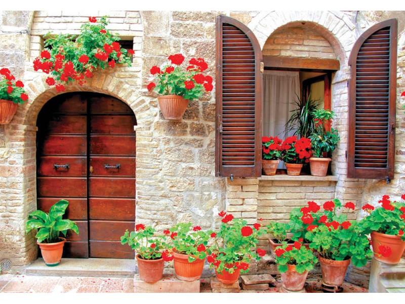 Fototapet italienskt hus med färgglada krukväxter (27064524)