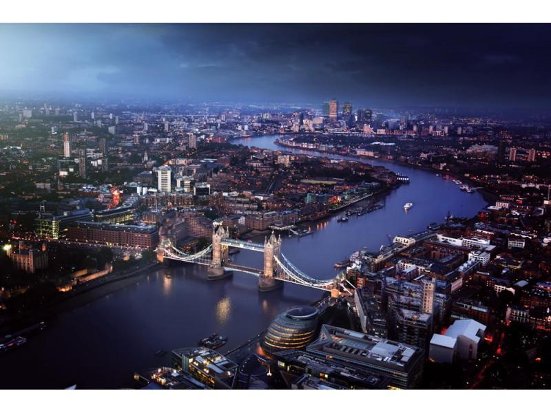 Fototapet London flygfoto med tower bridge (36533972)