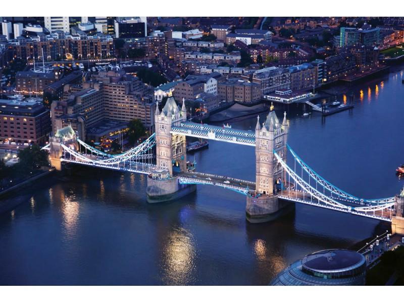 Fototapet London på natten med stadsarkitekturer och tower bridge (35546687)