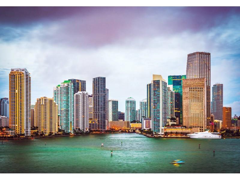 Fototapet Miami skyline vid Biscayne Bay (25864346)