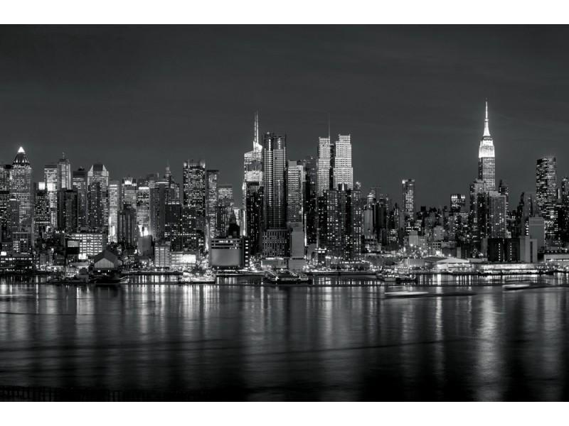 Fototapet New York city upplyst över Hudson river panorama i svartvitt (39717508)