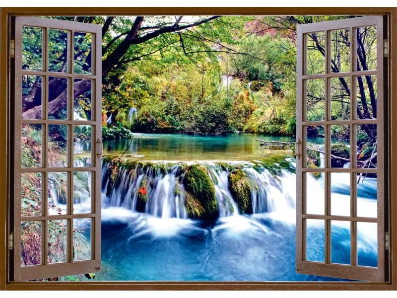 Fototapet öppet fönstervy till ett litet vattenfall vid floden (50921034)