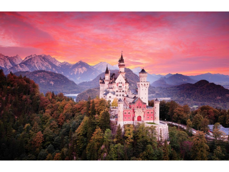 Fototapet Red Sky Evening With Castle