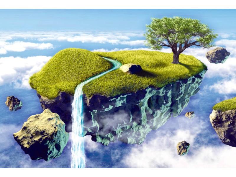 Fototapet liten ö som flyter i himlen (50824426)