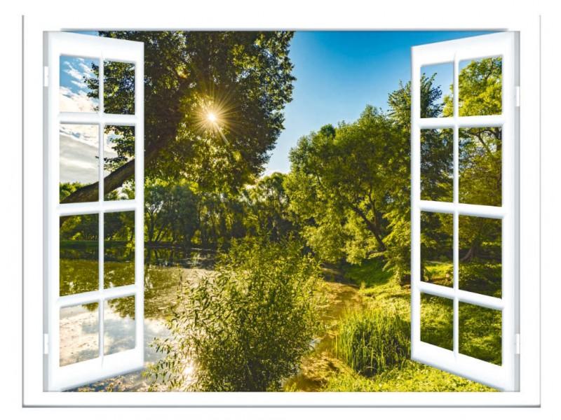 Fototapet sommarvy från fönstret (153384873)
