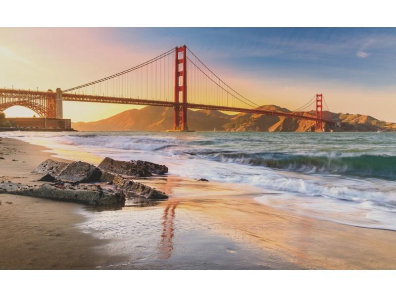 Fototapet solnedgång på stranden vid Golden Gate Bridge (96710636)