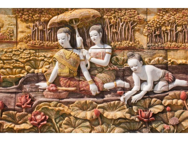 Fototapet thailändsk stenhuggning på tempelväggen (18989183)