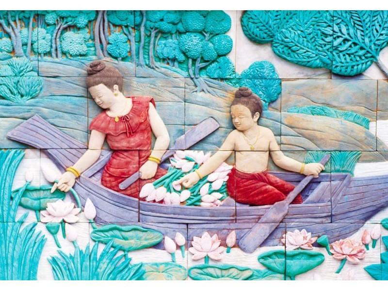 Fototapet thailändsk stuckatur på tempelväggen (38132802)