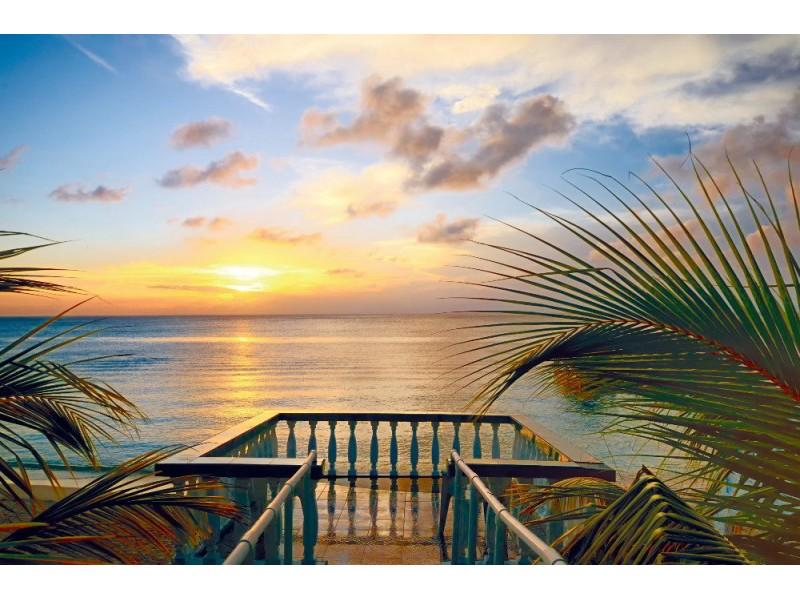 Fototapet utsikten från terrasserna till den vackra solnedgången på stranden (21965515)