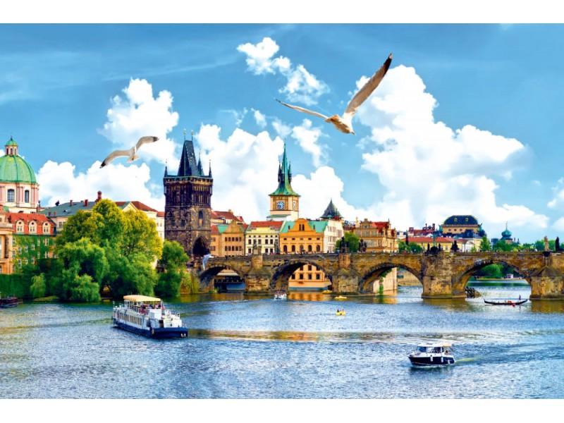 Fototapet Vltavafloden och bron i Prag (111223111)