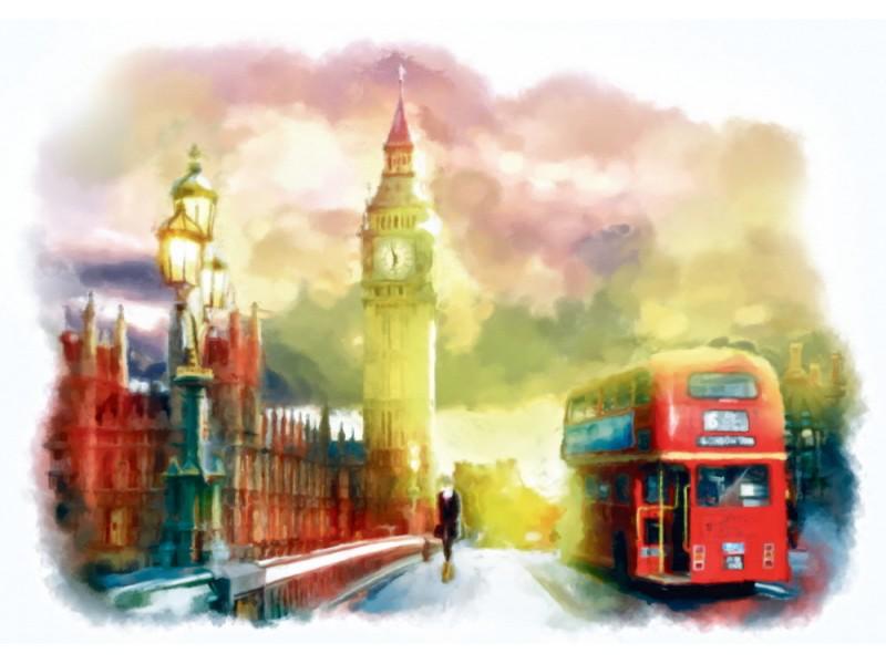 Fototapet akvarell handritad Londons stadsutsikt (68270505)