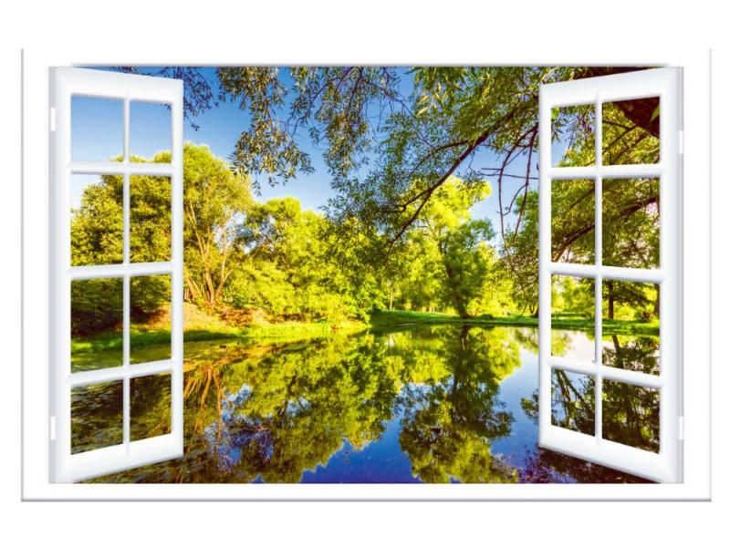 Fototapet fönster sommarvy (153203059)