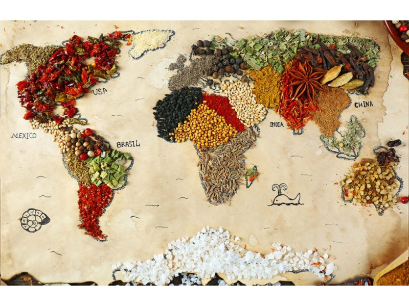 Fototapet World Map Of Spices